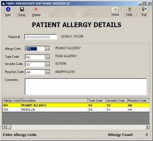 Patient Allergy screen