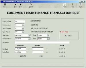 Equipment Maintenance Transaction