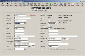 Patient Master screen